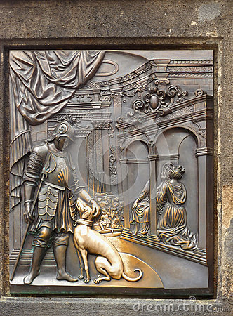 Bronze Plague Charles Bridge Prague Landmark