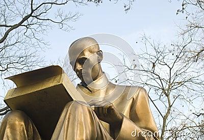 Bronze sculpture of a writer and journalist