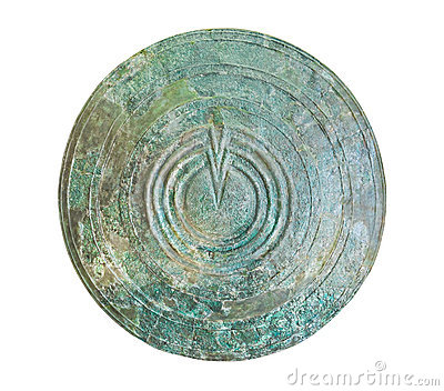 Bronze shield in Delphi museum, Greece