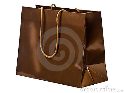 Bronze shopping bag.