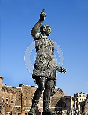 Bronze statue of emperor Caesar Augustus