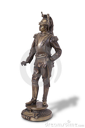 Bronze statue of French cuirassier.
