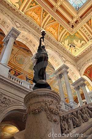 Bronze Statue inside the Entrance Hall to the Library of Congress