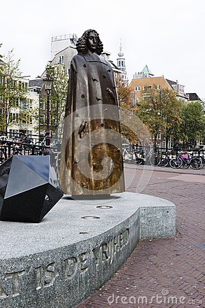 Free Bronze Statue Of Spinoza, Amsterdam, Holland Stock Photo - 34370960