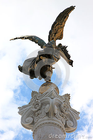 Bronze victory angel in Rome, Italy