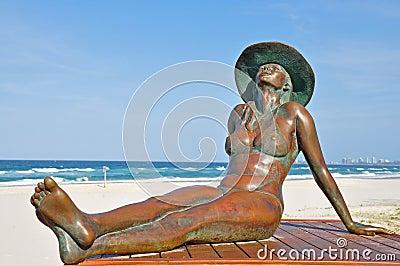 Bronzed Beauty Sunbaking Beach