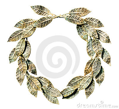 Bronzed laurel wreath (isolated).