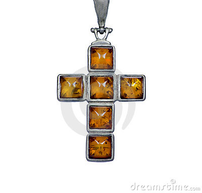 Free Brooch-cross Of Amber Stock Photo - 20057480
