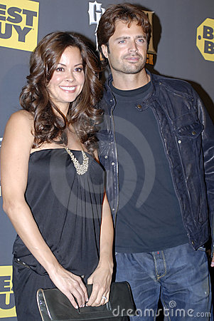 Brooke Burke and David Charvet on the red carpet Editorial Photography