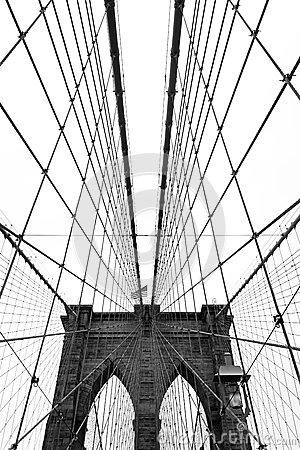 Free Brooklyn Bridge, Black And White Royalty Free Stock Photography - 34009747