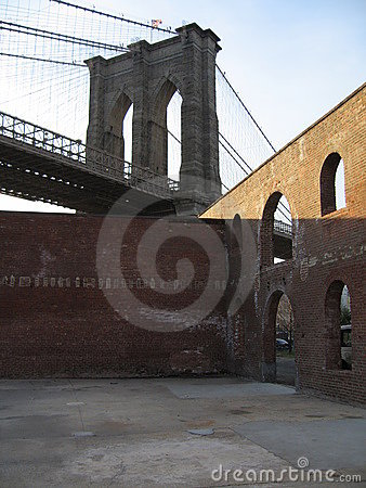 Brooklyn bridge with brick walls