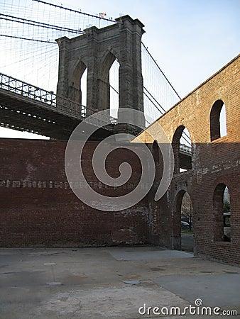 Brooklyn bridge with brick walls
