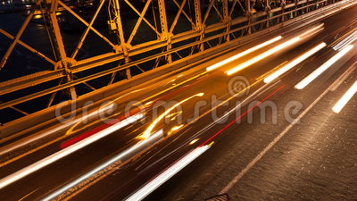 Brooklyn bridge car traffic light timelapse - New York - USA stock video