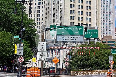Brooklyn Bridge entrence Editorial Stock Image