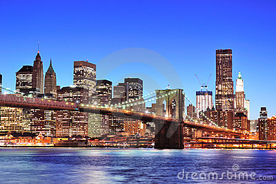 Brooklyn bridge with New York City Manhattan