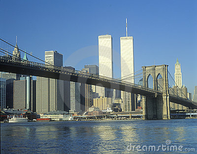 Brooklyn Bridge and New York skyline Editorial Stock Image