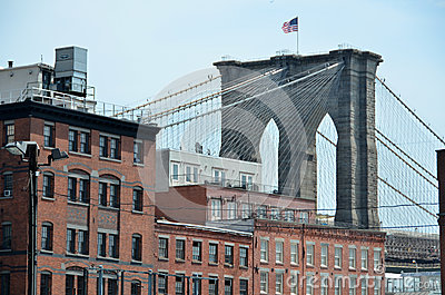 Brooklyn Bridge Over Buildings Editorial Stock Image