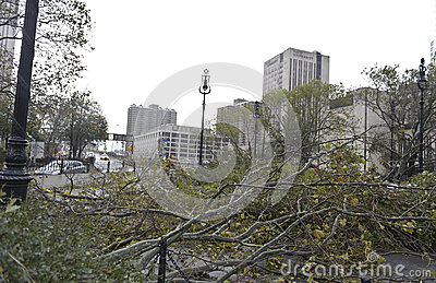 Brooklyn Bridge after super storm Sandy Editorial Photography