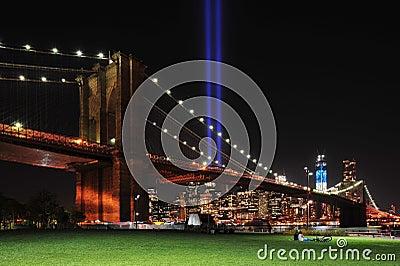 Brooklyn Bridge and Tribute In Light Editorial Stock Photo