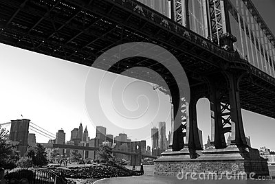 Brooklyn and Manhattan Bridges B&W