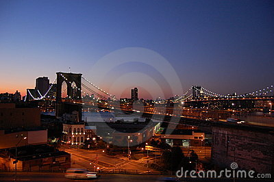 Brooklyn and Manhattan Bridges, New York Editorial Photography