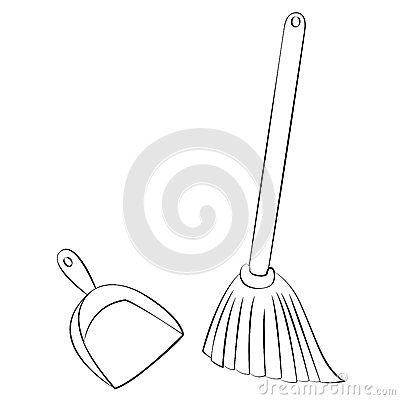 Broom Amp Dustpan Stock Vector Image 48520107