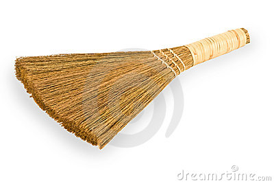 Broom straw on white background