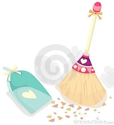 Free Broom With Scoop For Dust Stock Photography - 13042692