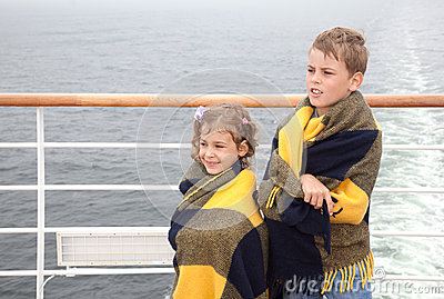 Brother and sister travel on ship