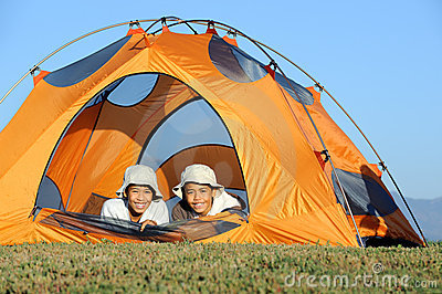 Brothers Camping out in Tent