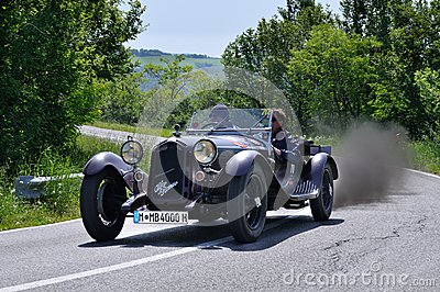 Brown Alfa Romeo 6c 1750 GS during 1000 Miglia Editorial Stock Image