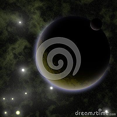 Brown alien planet