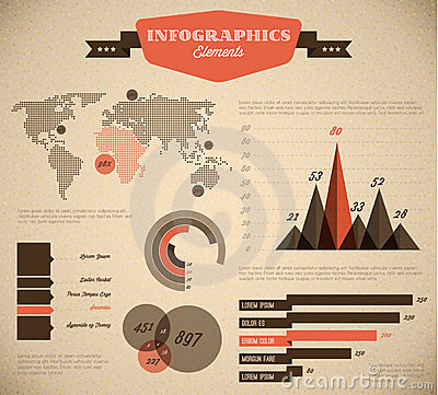 Free Brown And Red Vector Retro / Vintage Infographic S Royalty Free Stock Photos - 24124958