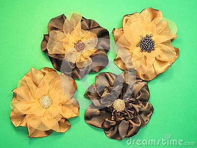 Brown artificial fabric flowers