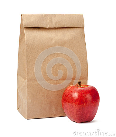 Free Brown Bag Lunch With Clipping Path Royalty Free Stock Photography - 40711067