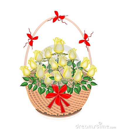 Brown Basket of Lovely Yellow Roses