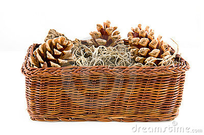 Brown basket with pine cones