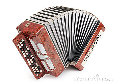 Brown bayan (accordion) isolated