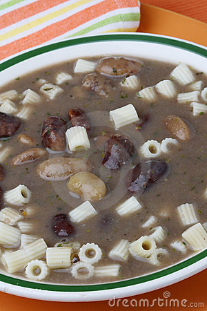 Brown beans soup with macaroni