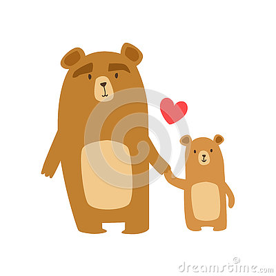 Free Brown Bear Dad Animal Parent And Its Baby Calf Parenthood Themed Colorful Illustration With Cartoon Fauna Characters Royalty Free Stock Photography - 81525687
