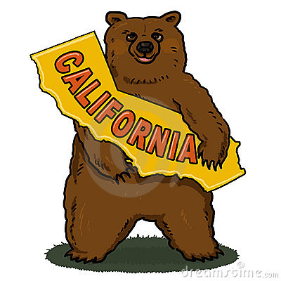 Brown Bear holding California Map Illustration