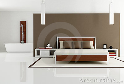 Brown bedroom with fashion bathtub