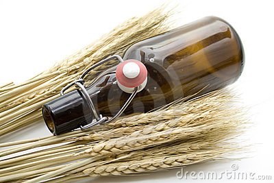 Brown beer bottle with wheat ears