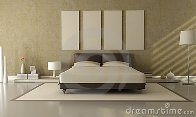 Brown and beige bedroom