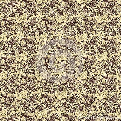 Brown beige rose floral damask seamless pattern