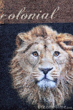Floor mat home decoration detail with lion pictured on it