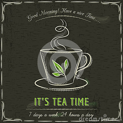 Free Brown Blackboard With A Cup Of Hot Tea And Text Stock Image - 51440761