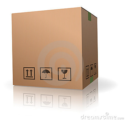 Brown blank storage cardboard box isolated