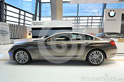 Brown BMW 6 series gran coupe on display at BMW World Editorial Stock Photo