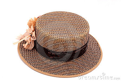 A brown boater hat